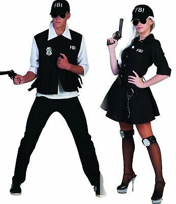 Kostüm FBI Agent Agentin Komplettkostüm mit Kappe Polizist Karneval Fasching