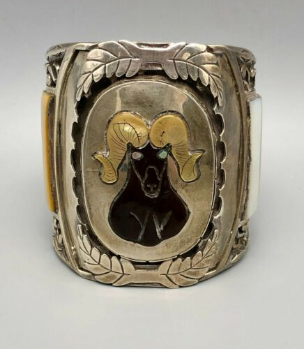 Outstanding Large Bighorn Sheep Inlay Bracelet by J. Quam