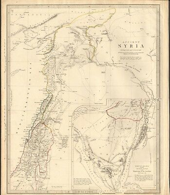 1843 ANTIQUE MAP- SDUK - ANCIENT SYRIA BY W HUGHES