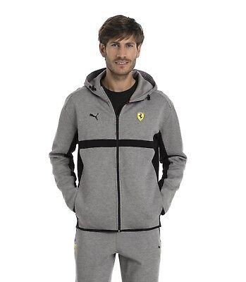 PUMA Ferrari Men's Motorsport Logo Sweat Hooded Jacket Hoodie Sweatshirt Grey