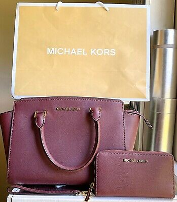 MICHAEL KORS Selma Medium Crossgrain Leather Satchel Bag -JET SET WALLET-MERLOT