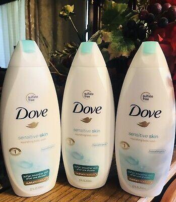 Dove Sensitive Skin Body Wash 22 oz  650 ml  - PACK OF 3 Dove Sensitive Skin Body Wash