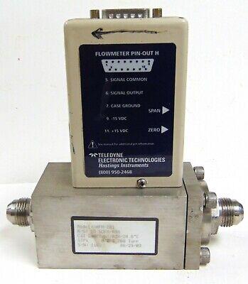 Teledyne Hastings Hfm-201 Mass Flow Meter Fast 15 Vdc 10 Sccm Air 500 Psig