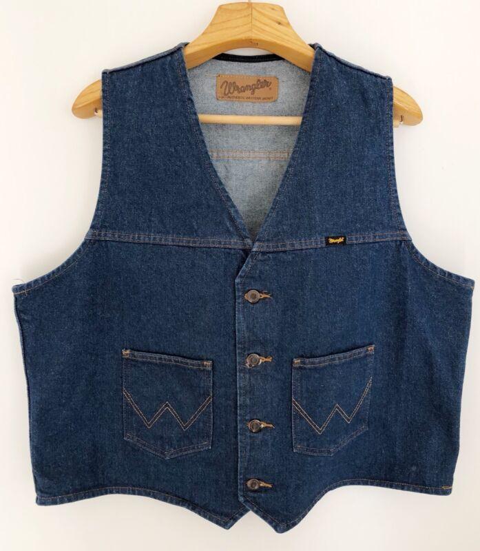 "Vintage WRANGLER Mens Denim Vest Western Size XL Blue 25"" Across Chest"