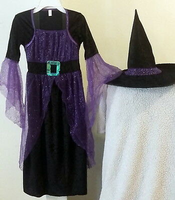 Halloween Costumes With Purple (Girls Witch Halloween Costume Dress with Hat Purple Black Size)