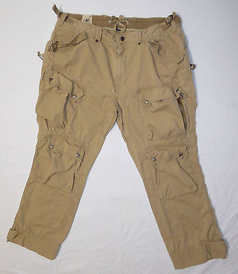 Polo Ralph Lauren Mens Military Inspired Cargo Pants Size 40x30 Solid Tan Cotton