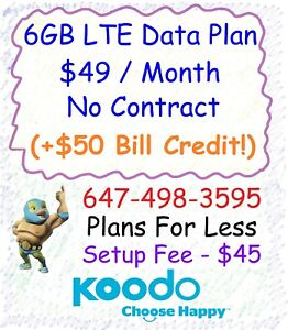 Koodo $49 6GB LTE data plan unlimited talk text + $50 credit