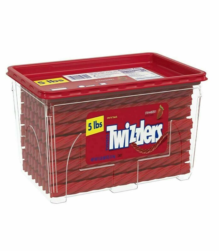 2Pcs Twizzlers Bulk Strawberry Licorice Candy, (5 Pounds, each) Canister