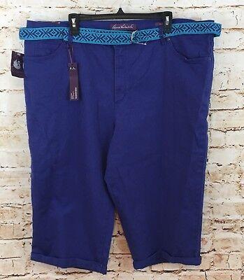 Gloria vanderbilt capris 24W denim jeans cropped new belt violet blue stretch BC