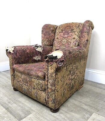 Fabulous 1920's Buoyant Wingback Armchair Reupholstery Project J49