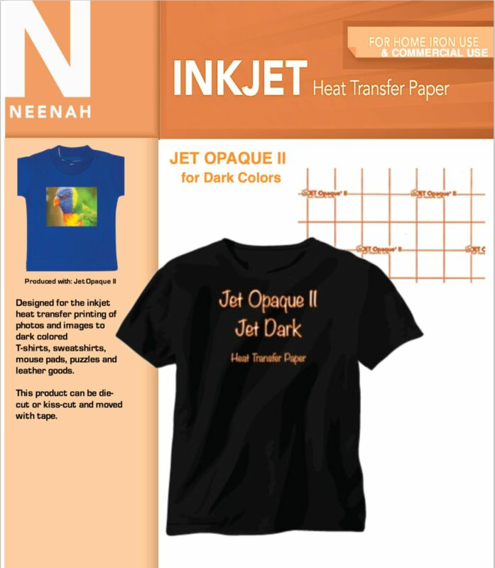 "Neenah Jet Opaque II dark Transfer Paper for Dark Colors 8.5"" x11"" (20 Sheets)"