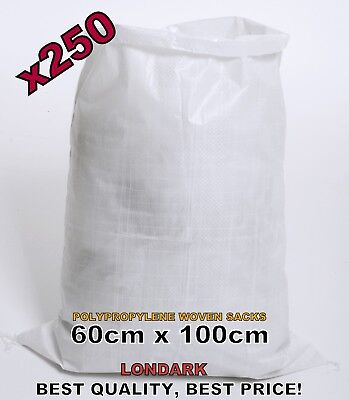 250 Woven POLYPROPYLENE Bags Sacks 60 x 100 PP Rubble Heavy Duty Bags Sandbags