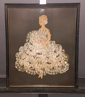 Old Art Deco Framed Ribbon Art Blond Paper Figure w/ applied Tiers of Lace Gown