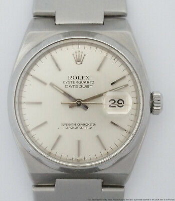 Rolex Oysterquartz Datejust 17000 Running Mens Vintage Steel Watch calibre 5035