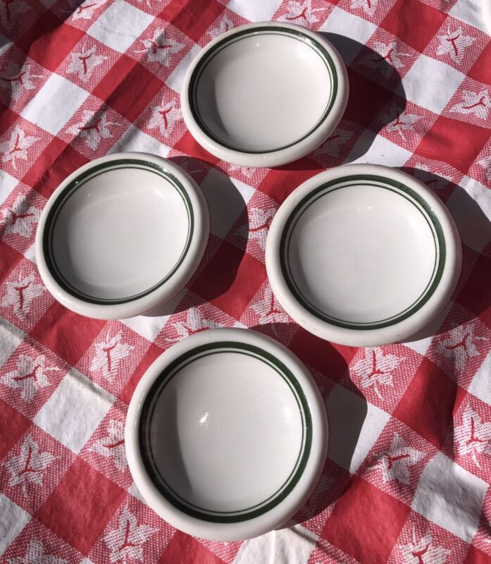 4 Vintage Restaurant Individual Butter Pat Unmarked Green Stripes