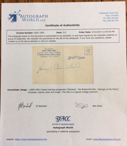 Hoagy Carmichael Award/Winning Songwriter/Composer Autographed Post Card W/COA - $115.00