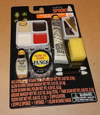 Halloween Makeup Kit Looking Spooky Glow In The Dark Grease Makeup Fangs 119Y