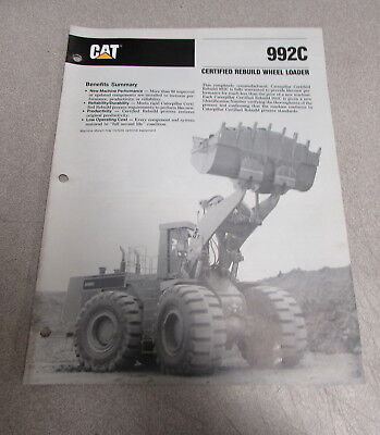 Cat Caterpillar 992c Wheel Loader Manual Brochure 1989 Pehp7541