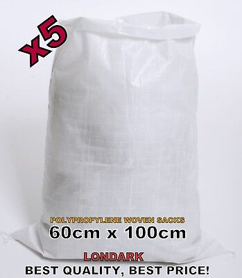 5 Woven POLYPROPYLENE Bags Sacks 60 x 100 PP Rubble Heavy Duty Bags Sandbags