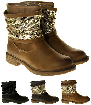 Faux Chainmail (Womens Ladies Keddo Faux Leather Chainmail Winter Ankle Boots Size 3 4 5 6 7)