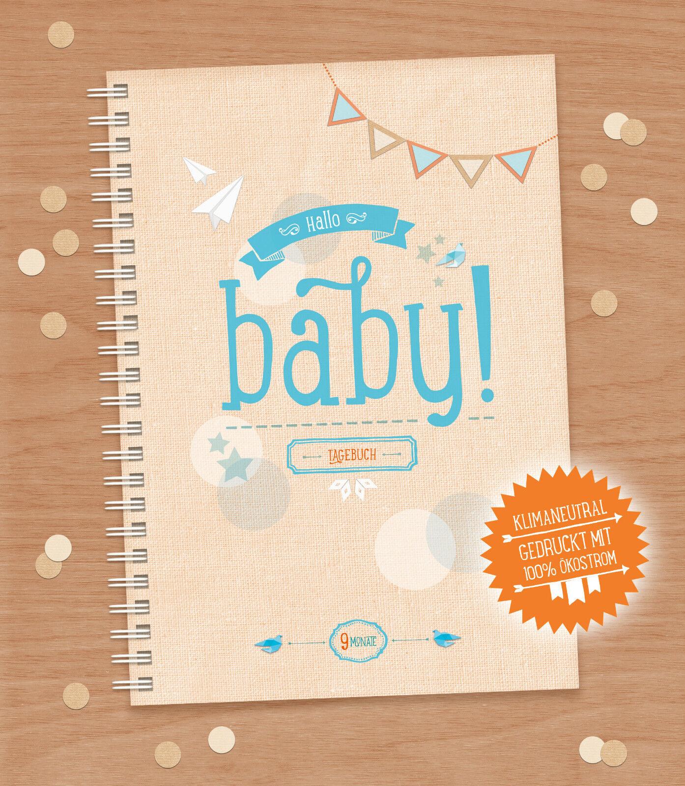 HALLO BABY / Schwangerschaftstagebuch, Babybuch, Tagebuch, Junge & Mädchen