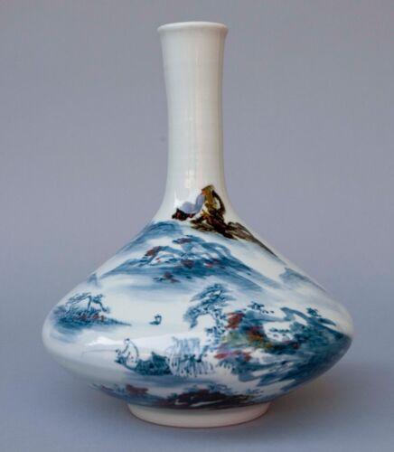 "Vintage 20th Century Japanese Polychrome Porcelain Vase w/ Mark 11"" tall"