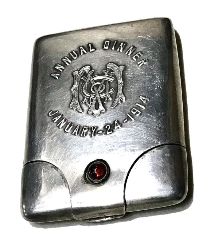 Antique Vintage 1914 Monogrammed Sterling SilverVesta Match Safe Case Holder Old