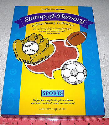 Sports FOAM Stamp Set Football Baseball Basketball Tennis New by All Night Media