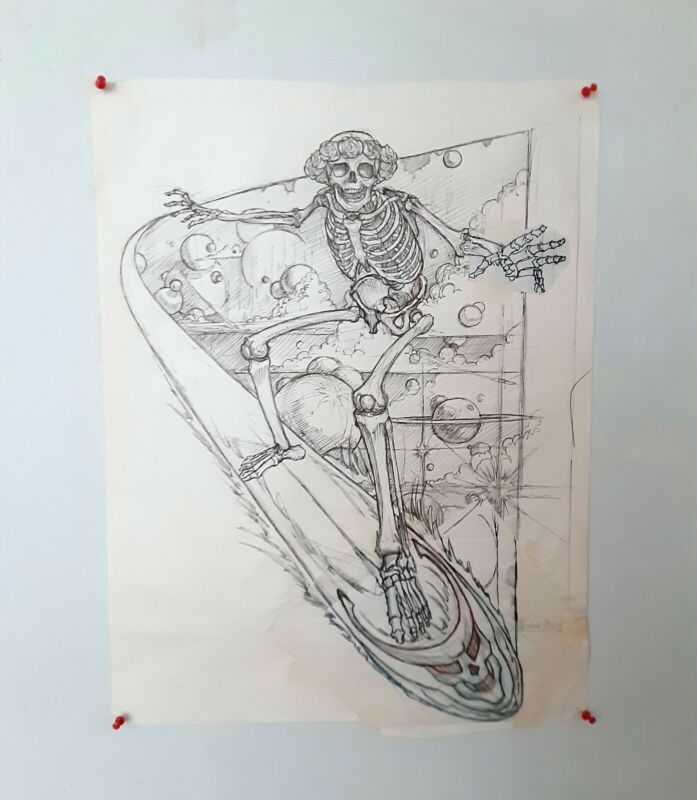 Original Signed Artwork by Grateful Dead Artist Vince Perez, New Year