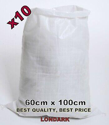 10 Woven POLYPROPYLENE Bag Sack 60 x 100cm Builders Heavy Duty PP Rubble XL