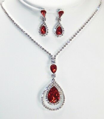 Red W. Silver Crystal Rhinestone Dangle Drop Necklace & Earrings Set 719
