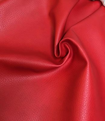 RED FAUX LEATHER  FABRIC 0.93 METRES