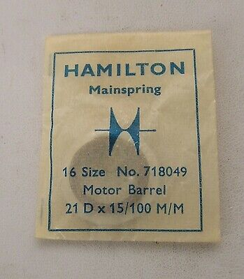 Hamilton Factory New Old Stock 16 Size #718049 Motor Barrel Packaged Mainspring