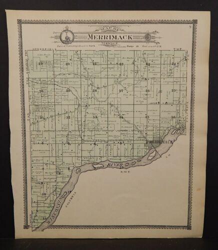 Wisconsin Sauk County Map Merrimack Township 1906 J24#77