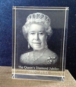 The Queen's Diamond Jubilee - 3D Laser Engraved Image of Queen Elizabeth II