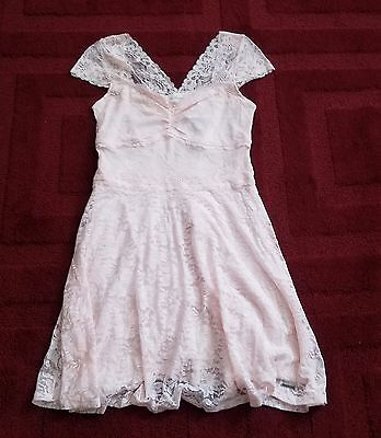 $78 NWT Womens Abercrombie Sun Dress Floral Lace Pink Summer Party Cocktail L