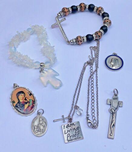 Vintage Religious Jewelry Lot Pendants, Cross, Necklace, Bracelets, Angel, Italy