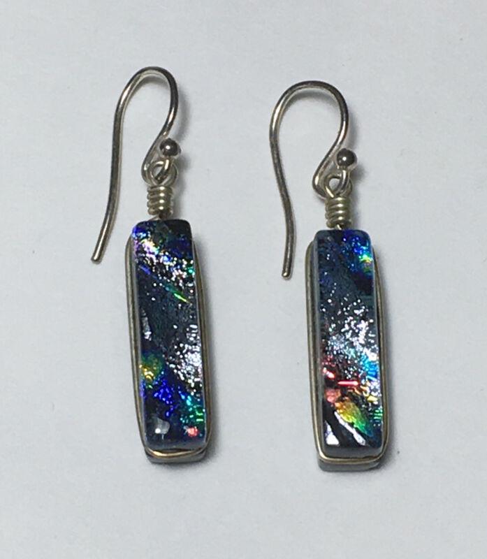 Vintage 925 Sterling Silver Handmade Earrings Drop Dangle Acrylic Jewelry