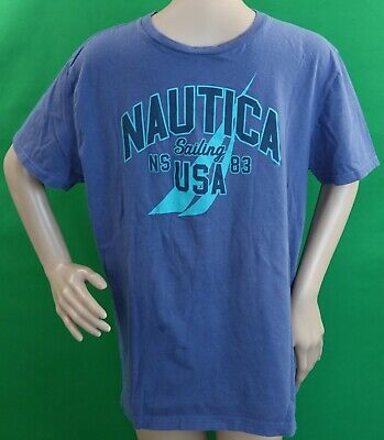 EUC Nautica Men's Blue Indigo Sailing USA Graphic T-Shirt, Size  M - READ