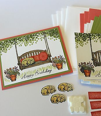 Sitting Here / Swing Happy Birthday Card Kit made w/ Stampin Up & other products