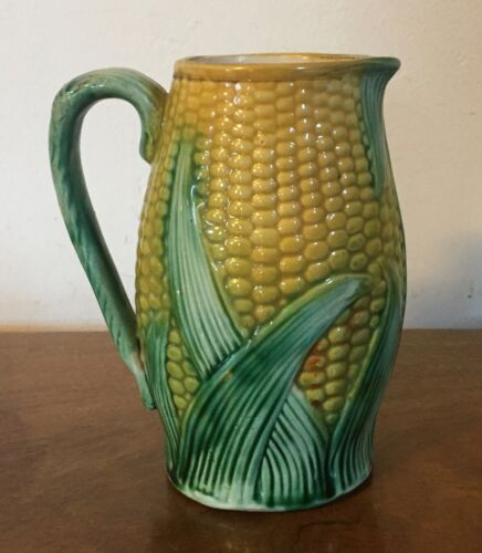 Antique 19th century Majolica Pottery Ear of Corn Pitcher Milk Jug