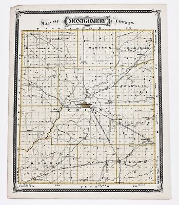 1876 Crawfordsville Indiana Montgomery County Ladoga Waveland Plats Railroads 1876 Indiana County Map