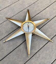 Vintage Starburst Sunburst Mid Century Clock Works