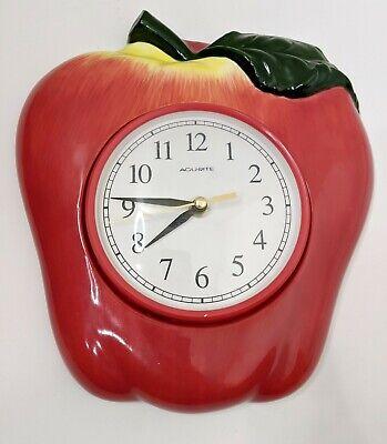 "Vintage Mid Mod Acurite Apple Clock Battery Operated 11"" tall"