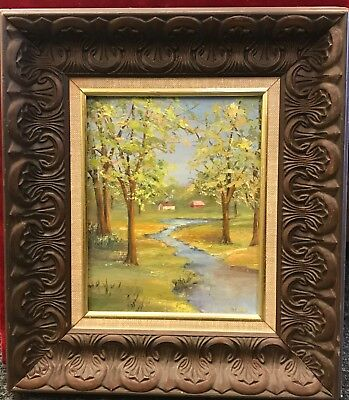 Vintage Oil Painting. Cabin in the Woods. J. Toth. Framed. - Painting Cabin In The Woods
