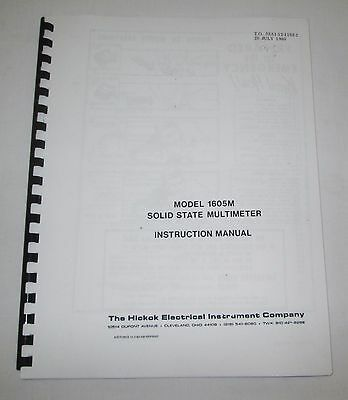 Hickok 1605m Solid State Multimeter Instruction-service-parts Manual 36 Pages