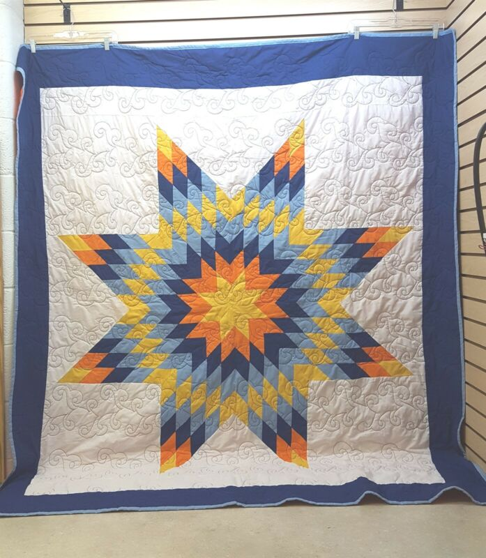BEAUTIFUL LARGE BADLANDS QUILTING NATIVE AMERICAN INDIAN STAR QUILT BLANKET