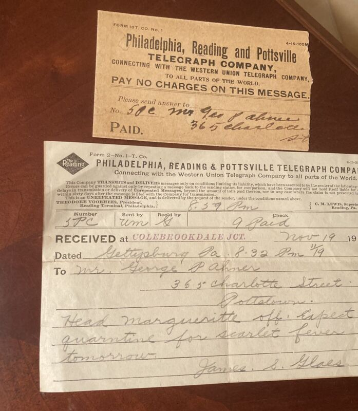 "1915 TELEGRAM PHILADELPHIA READING POTTSVILLE  CO ""QUARANTINE SCARLET FEVER"""