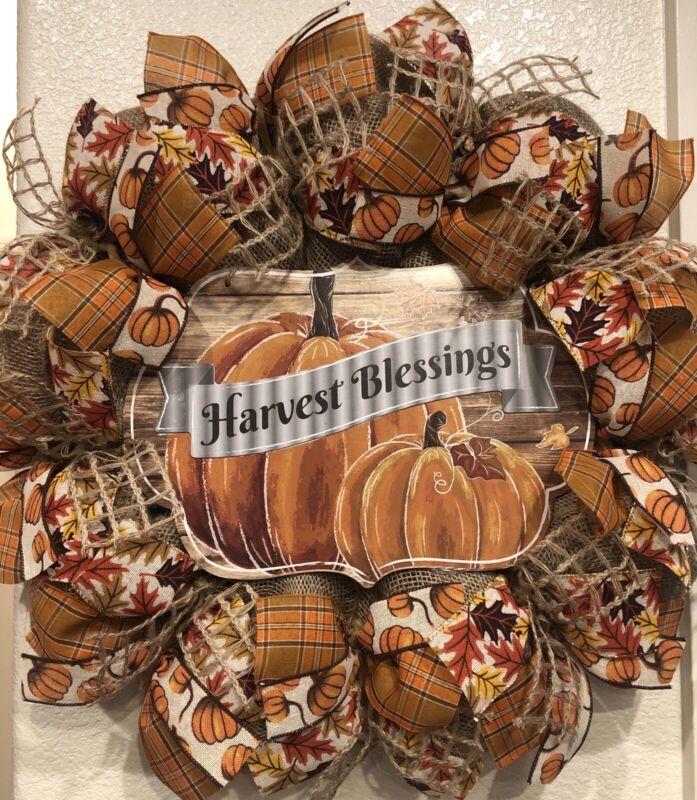 "Farmhouse HARVEST BLESSINGS 🍁 BURLAP Deco Mesh WREATH Fall AUTUMN 22"" X 22"""