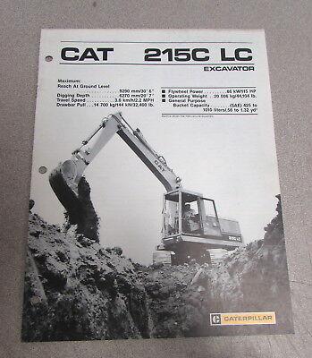 Cat Caterpillar 215c Lc Excavator Specifications Brochure Manual 1987
